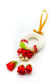 Thai plastic garland decorated with fabric red rose isolated on. White background for buddhist respect from high angle view Stock Photos