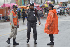 Thai Police overseeing security Stock Photos