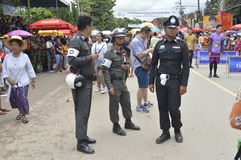 Thai Police overseeing security Stock Image