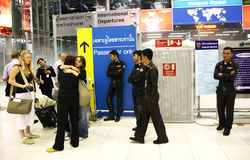 Thai police and tourists Stock Image
