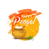 Thai Pongal greeting card. Happy Thai Pongal. Indian harvesting festival. Religious celebration with rice, milk, traditional pot, sugarcane. Watercolor Stock Photography