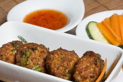 Thai pork patties with sweet chili Royalty Free Stock Photos