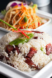 Thai Pork and Rice with Som Tum Royalty Free Stock Photo