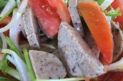 Thai pork sausage spicy salad Royalty Free Stock Photos