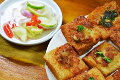 Thai pork toast eat couple with pickled vegetable sauce Stock Photos
