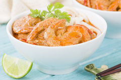 Thai Prawn Curry with Noodles Stock Image