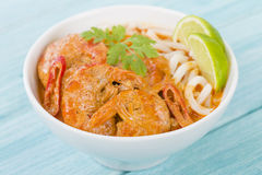 Thai Prawn Curry with Noodles Stock Images