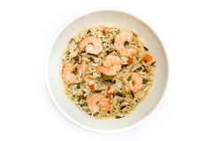 Thai prawn and rice dish over white. Thai prawn and rice dish isolated over white Royalty Free Stock Photography