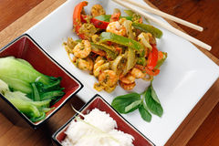 Thai prawn stir fry Royalty Free Stock Photo