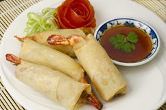 Thai prawns. A plate of fried wonton tiger prawns with sweet chili sauce Royalty Free Stock Photography