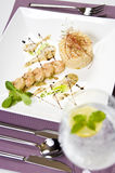 Thai prawns dish. Elegant restaurant table setting with thai prawns (shrimps) dish Stock Photography