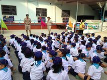 Thai primary school students in the cub scout meeting activity stock photo