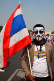 Thai protester wearing  Guy Fawkes mask Royalty Free Stock Images