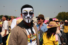 Thai protester wearing  Guy Fawkes mask Stock Images