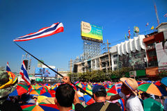 Thai protesters gather at Ladprao junction to resist government. BANGKOK-JAN 13:Unidentified protesters gather at Ladprao junction to anti government and ask to Stock Photos