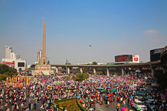 Thai protesters gather at Victory monument to expel Yingluck. BANGKOK-DEC 22:Unidentified people at Victory monument to expel Yingluck and ask to reform before royalty free stock photography