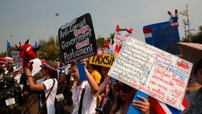 Thai protesters raise anti government plates Stock Photo