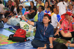 Thai protesters wave hand clappers to anti government Stock Image