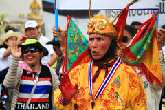 Thai protestor dressing Chinese monkey god suit Stock Photos