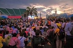Thai protestors gather on Rachadamnoen road Royalty Free Stock Images