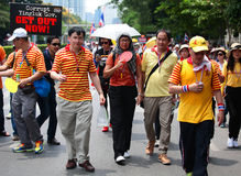 Thai protestors marching  to against Yingluck government Royalty Free Stock Image