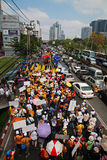 Thai protestors rally in Bangkok Stock Photo