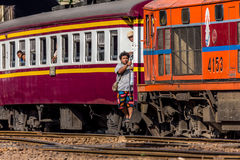 Thai railway train people step up Royalty Free Stock Photos
