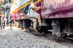 Thai railway train people step up Stock Images
