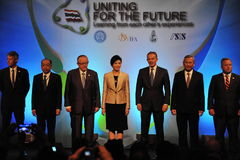 Thai Reconciliation Forum. Thai Prime Minister Yingluck Shinawatra (C) poses for photographs with former British Prime Minister Tony Blair (3rd R) and Nobel Stock Images