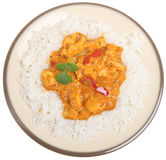 Thai Red Chicken Curry & Rice. Thai red chicken curry with jasmine rice stock photos
