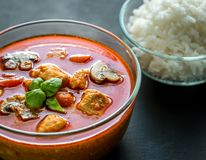 Thai red chicken curry with white rice. Thai red chicken curry and spicy ingredients royalty free stock images