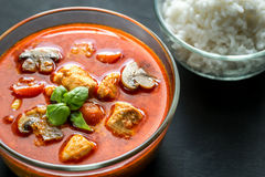 Thai red chicken curry with white rice Royalty Free Stock Images