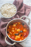 Thai red chicken curry with white rice Royalty Free Stock Image