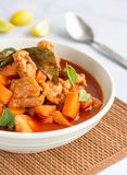 Thai Red Curry with Chicken in a Bowl Vertical Photo. Thai Food, Thai Cuisine, Oriental Cuisine, Asian Food Photography stock images