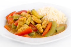 Thai red curry chicken with rice Stock Photos