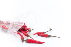 Thai red hot chilli on the white background, Red hot chilli isol Royalty Free Stock Photo
