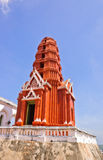Thai red pagoda Royalty Free Stock Photo