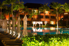 Thai resort with pool at night view Stock Image