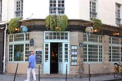 Thai restaurant in the Marais area of Paris, France. Thai restaurant on corner of a street in Marais section of Paris, France, appointed with hanging elephant royalty free stock photography