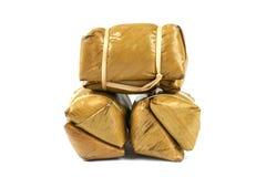 Thai rice cakes bundle on white background Royalty Free Stock Photos