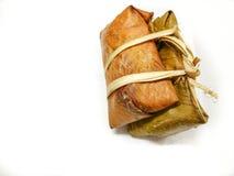 Thai rice cakes bundle on white background Stock Photo