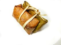 Thai rice cakes bundle on white background Royalty Free Stock Photography