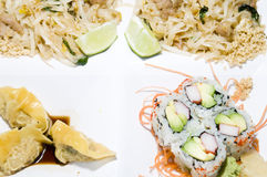 Thai rice noodles food california rolls Stock Photo
