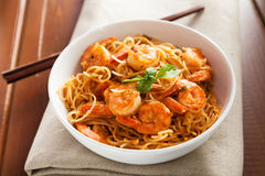 Thai rice noodles with shrimps Stock Photo