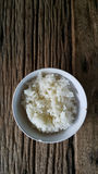 Thai rice on old wood. Thai rice on wood background Royalty Free Stock Photography