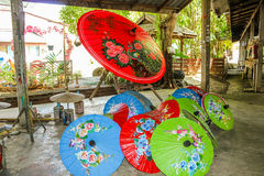 Thai rice paper umbrellas Stock Photos