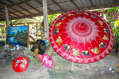 Thai rice paper umbrellas Stock Image
