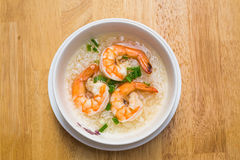 Thai Rice Soup With Shrimp Royalty Free Stock Photo