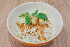 Thai rice vermicelli with curry Royalty Free Stock Photography