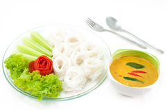Thai rice vermicelli served with curry Royalty Free Stock Photos